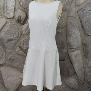 Phoebe Couture White Textured Drop Waist Dress